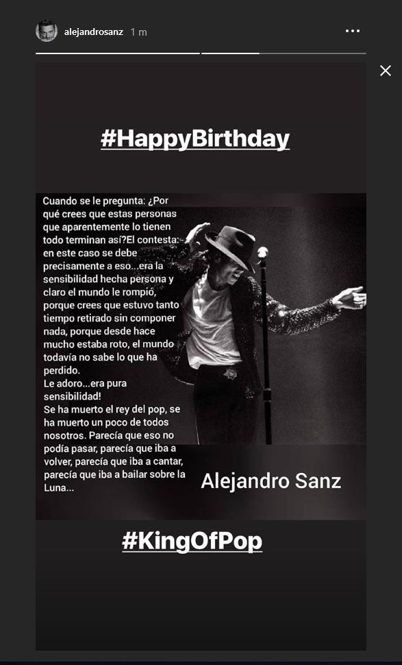 Alejandro Sanz conmemora Michael Jackson