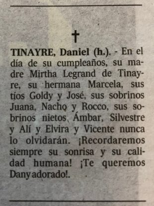 Mensaje conmemoración hijo Mirtha