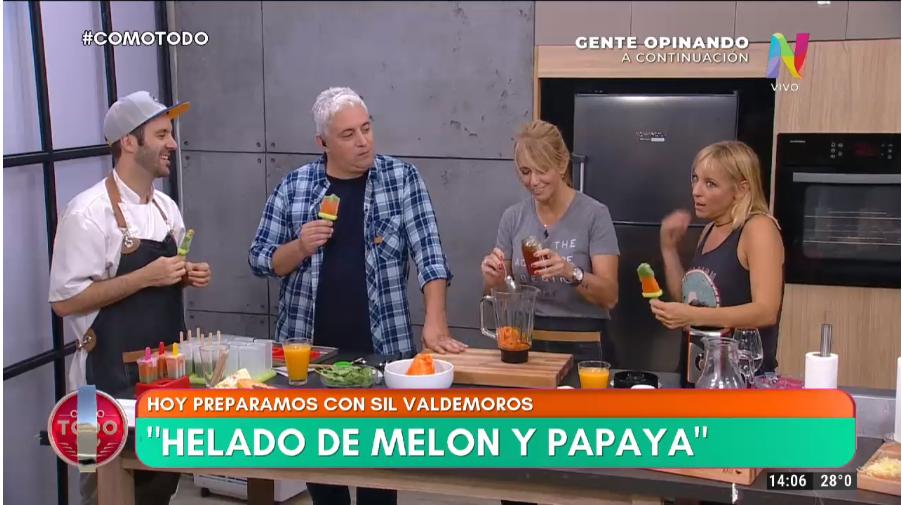 Helados de melón y papaya