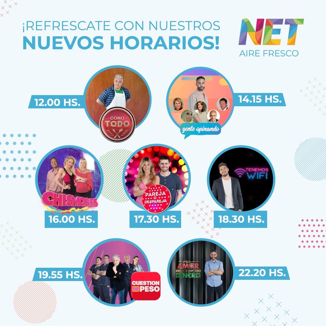 nuevos horarios en net tv