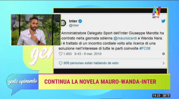 Mauro y Wanda Icardi reunidos en el Inter