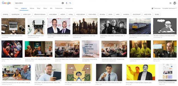 """Resultados de la búsqueda al googlear """"bad writers"""""""