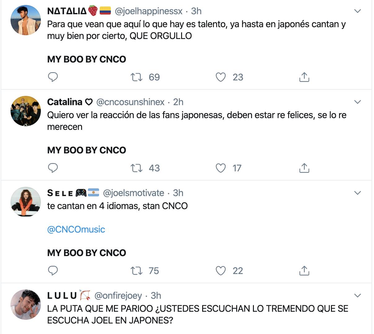 Tuits sobre My Boo de CNCO
