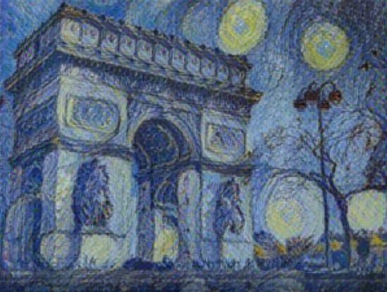 El estilo de The starry night, de Vincent Van Gogh, aplicado a una imagen del Arco de Triunfo de París
