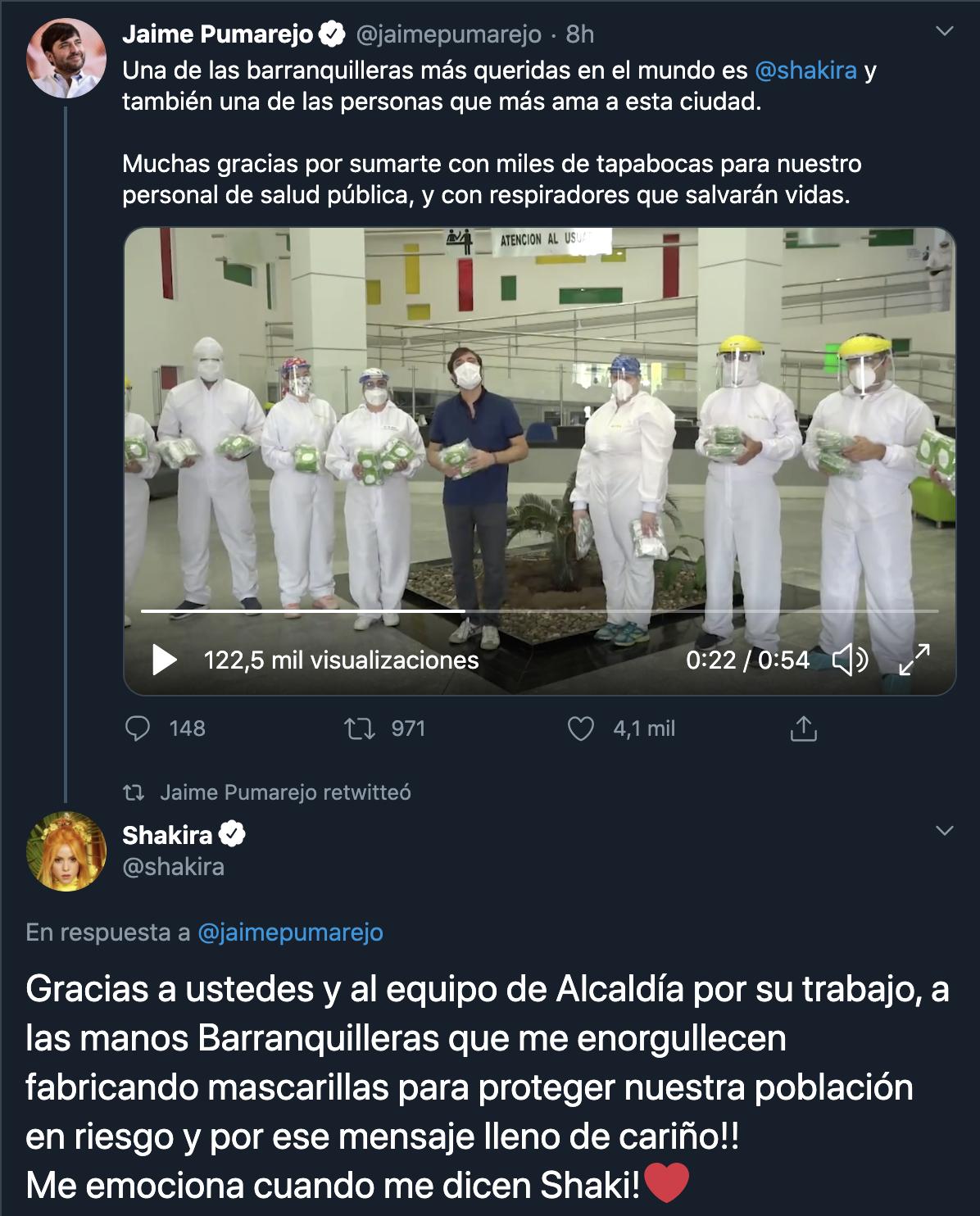 Shakira dona mascarillas
