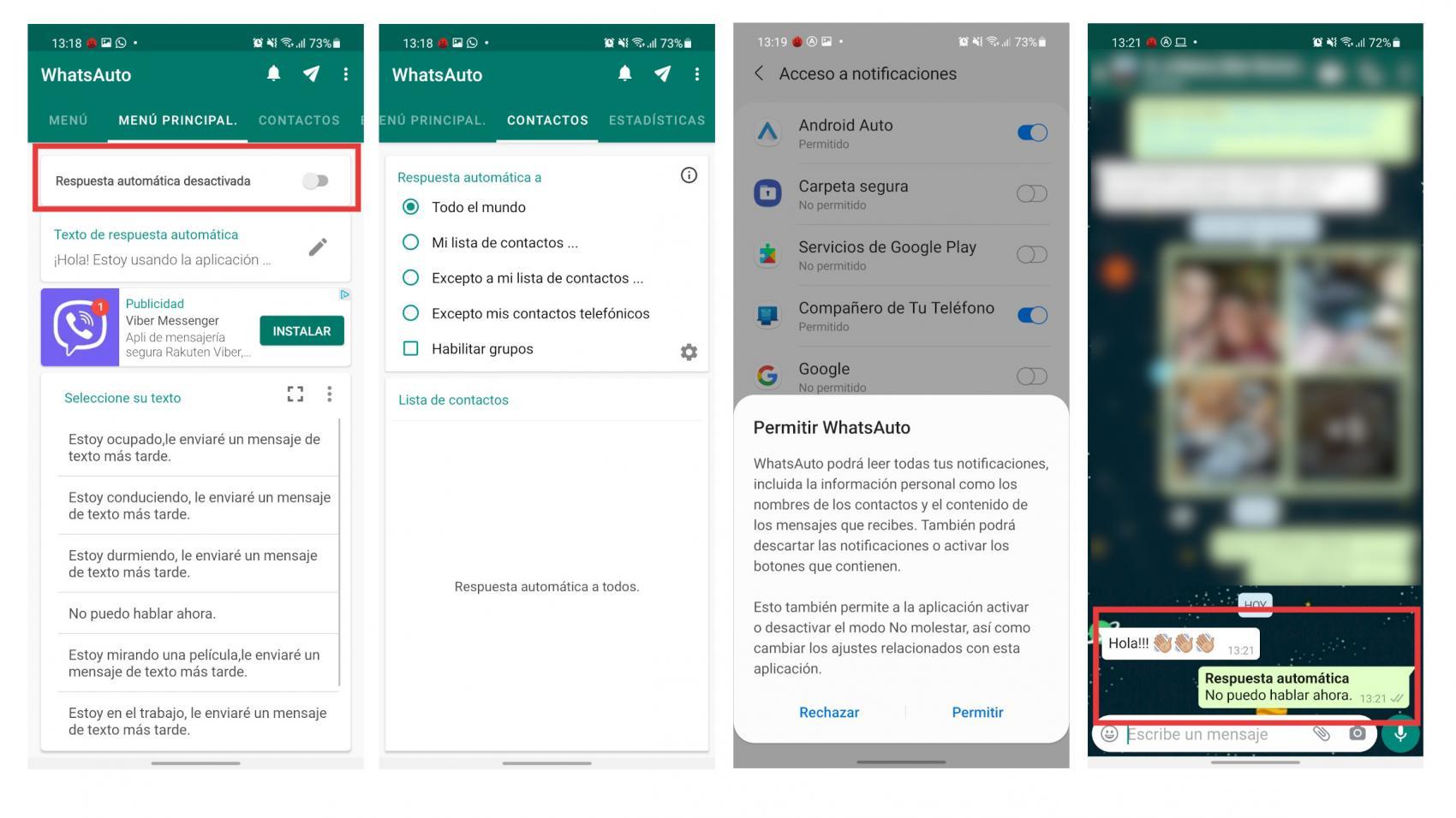 WhatsApp respuesta automática